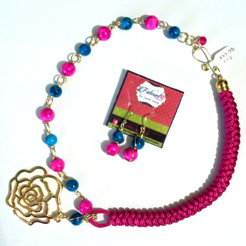 Fatevel Fuchsia Macramé Cord Necklace Set with Gold Flower Pendant