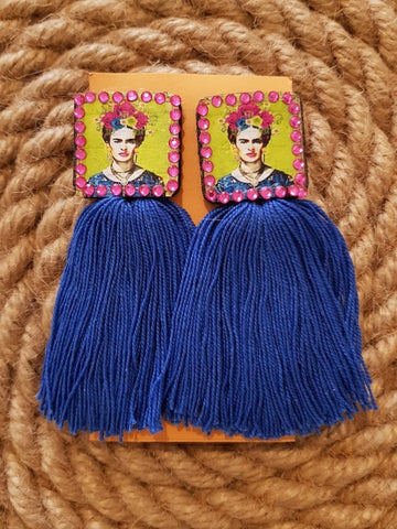 Udon Frida Kahlo Blue Tassel Earrings