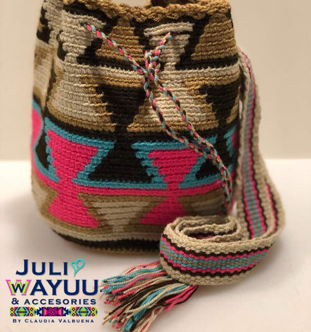 Juli Wayuu Mini Wayuu Mochila - Ethnic Earthy Triangles