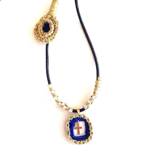 VP Trendy Gold & Royal Blue Crochet Rhinestone Necklace with Cross