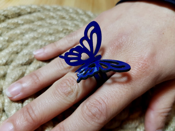 Nella Monroy Faux Leather Laser Cut Navy Butterfly Ring