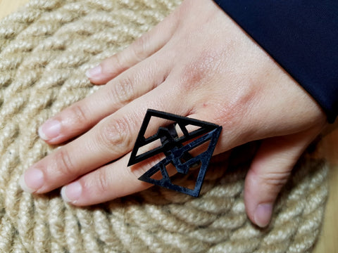 Nella Monroy Faux Leather Laser Cut Black Triangle Ring