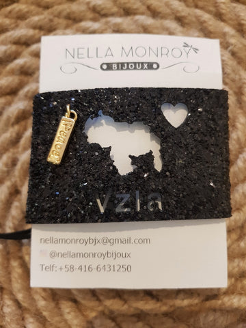 Nella Monroy Faux Leather Laser Cut Sparkly Black Venezuela Map Bracelet