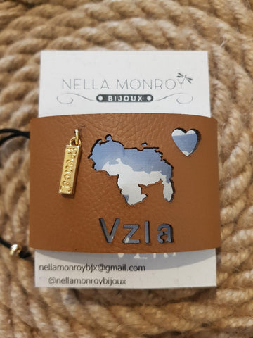 Nella Monroy Faux Leather Laser Cut Brown Venezuela Bracelet