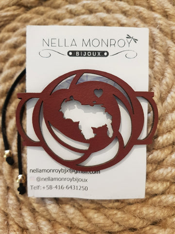 Nella Monroy Faux Leather Laser Cut Burgundy Venezuela Bracelet