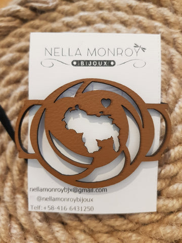 Nella Monroy Faux Leather Laser Cut Brown Round Venezuela Bracelet
