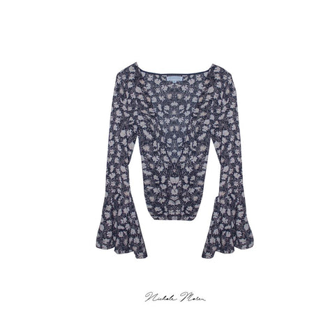 Nichole Moreu Long Sleeve Flower Blouse