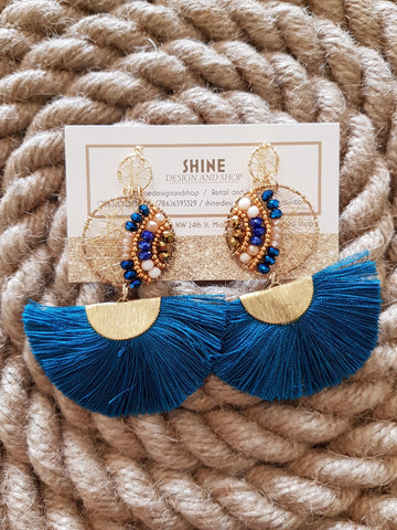 Shine Teal Gold Wire Earrings