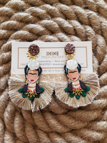 Shine Frida Kahlo Gold Earrings
