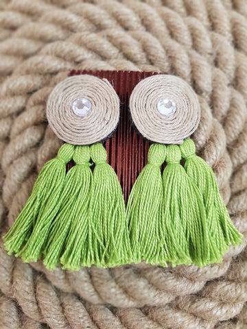 Udon Green Tassel Jute Earrings