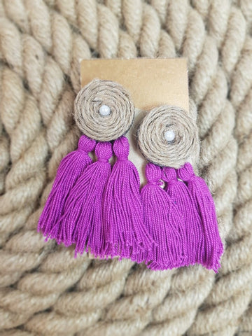 Udon Purple Tassel Jute Earrings