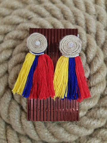Udon Tricolor Tassel Jute Earrings