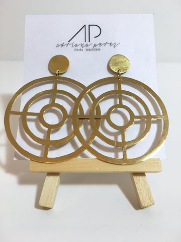 Adriana Perez Single Circle Gold Earrings
