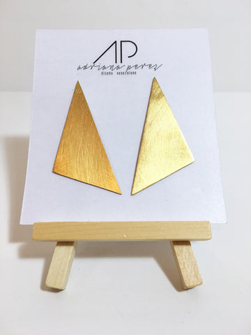 Adriana Perez Triangle Gold Earrings