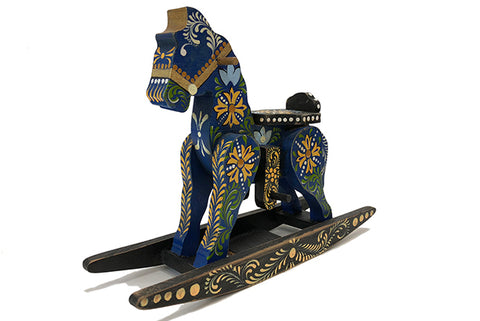Indigo Handpainted Wooden Rocking Horse Blue