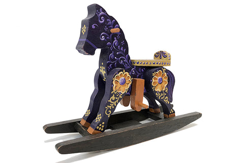 Indigo Handpainted Wooden Rocking Horse Purple
