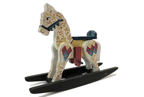 Indigo Handpainted Wooden Rocking Horse Cream