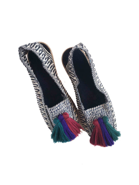 Lazulturqueza Black & White with Peacock Tassels Espadrilles