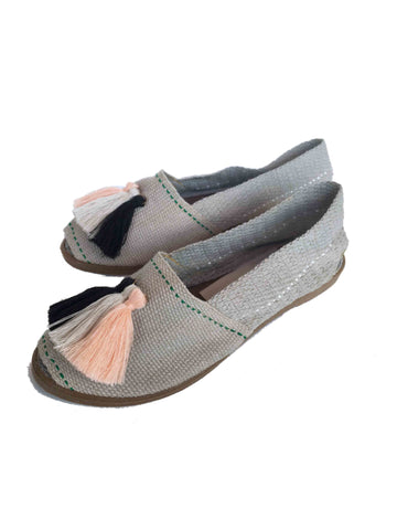 Lazulturqueza Grey with Multicolour Tassels Espadrilles