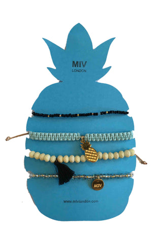 MIVLondon Pineapple Blue/Black Gold Bracelet Set