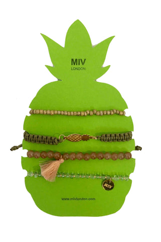 MIVLondon Pineapple Green/Brown Gold Bracelet Set