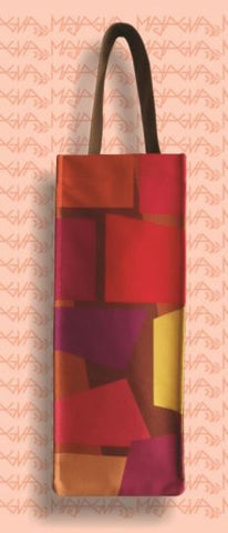 Majagua Red/Orange Squares Bottle Bag