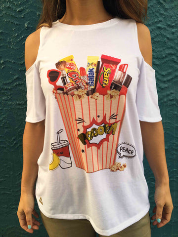 "Masterpiece ""Poof"" Candy Cutout Sleeve T-shirt"