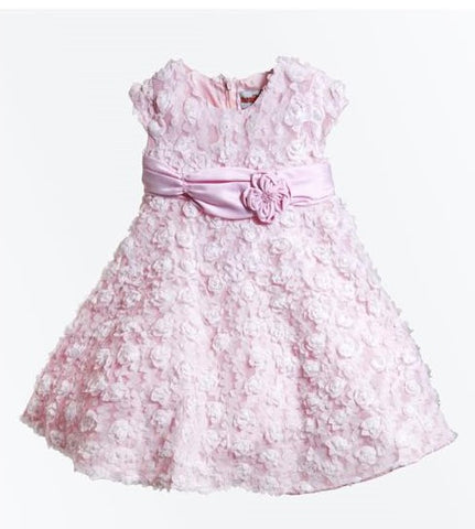 Monikerias Girls Baby Pink Baptism Dress