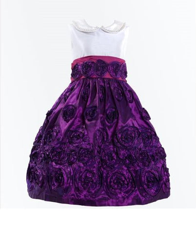 Monikerias Girls Pearl Collar Formal Purple Dress