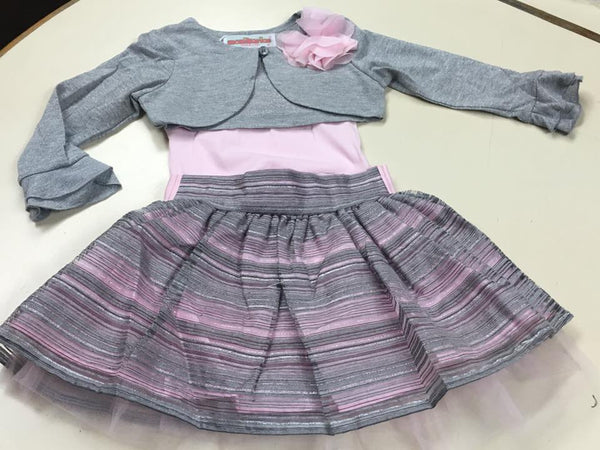 Monikerias Girls Three Piece Pink and Grey Skirt Outfit