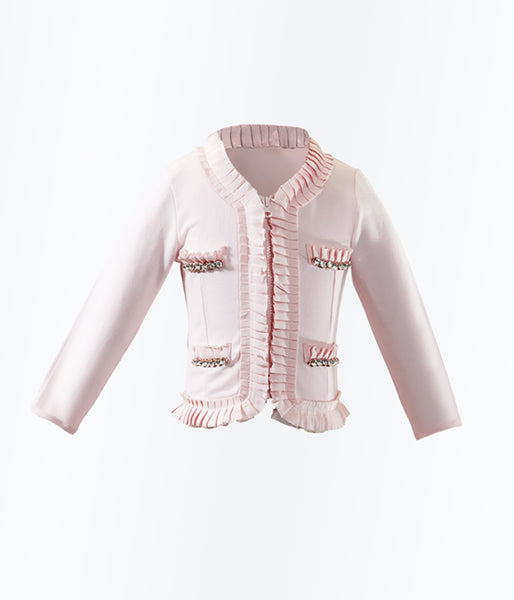 Monikerias Girls Baby Pink Cotton Jacket