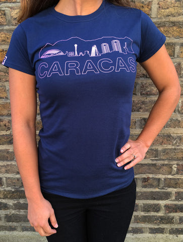 RetroCaracas Ladies Caracas Landscape Pink on Navy Blue T-Shirt - Size M