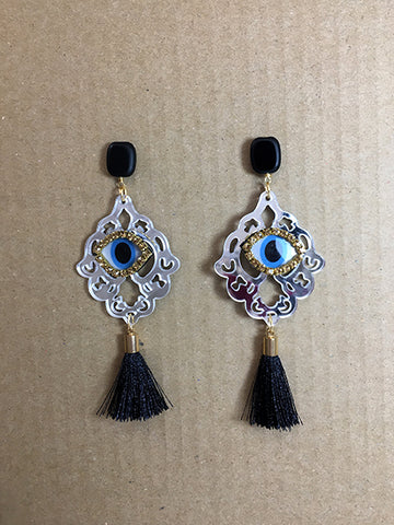 Shine Evil Eye Mirror & Black Tassel Earrings