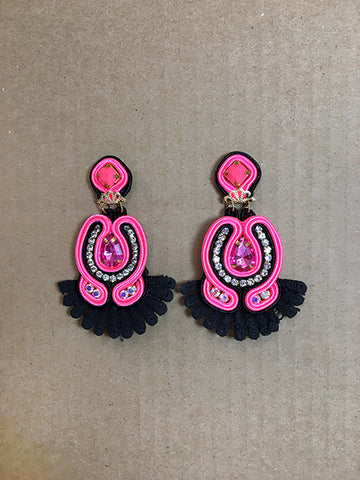 Shine Soutache Hot Pink and Black Earrings