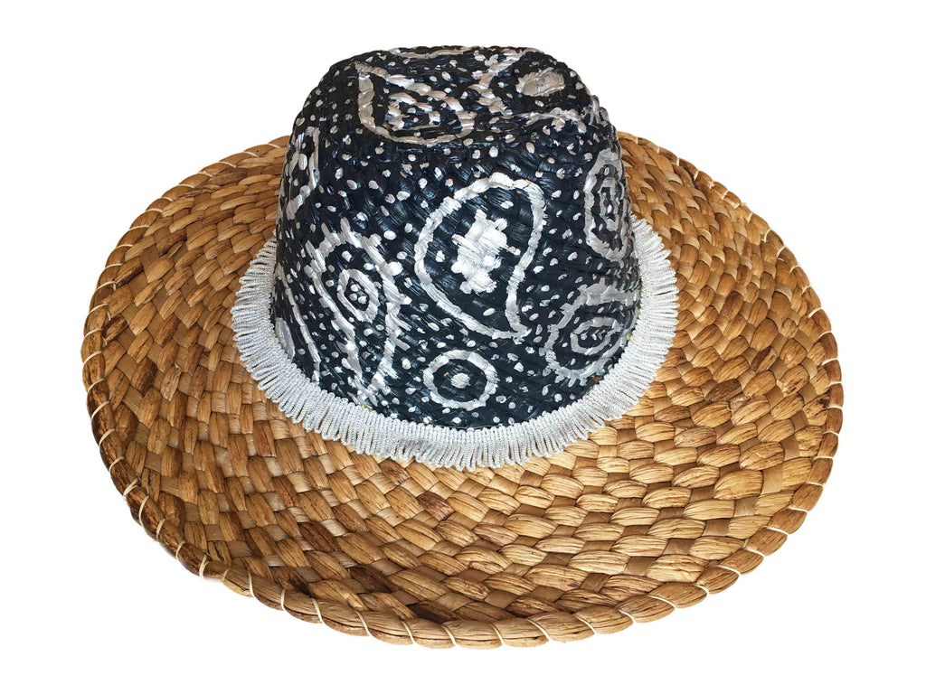 Tertulia Straw Hat with cord - Paisley Black & Silver