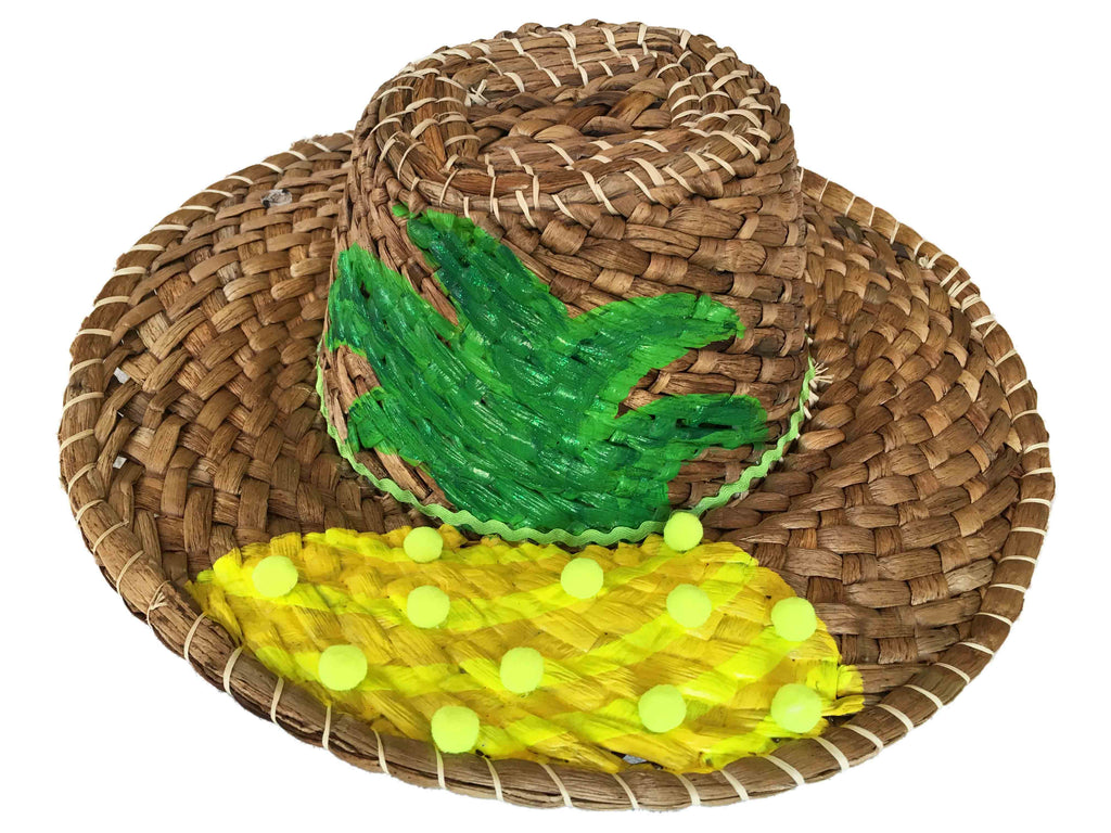 Tertulia Straw Hat with cord - Pineapple Design