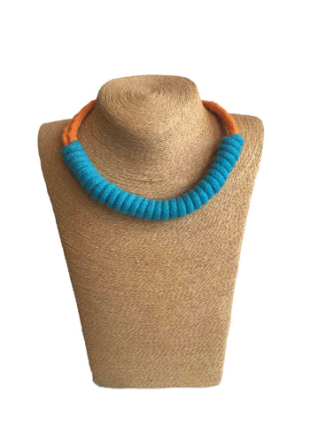 Udon TwisterTurquoise/Orange Necklace
