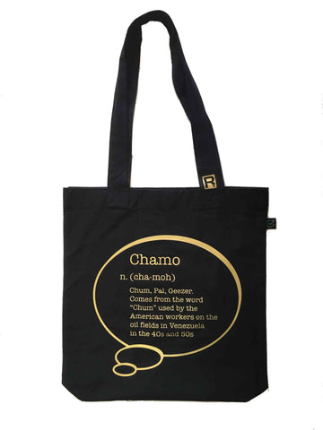"RetroCaracas Gold on Black Tote Bag - ""Chamo"""