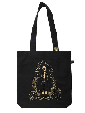 "RetroCaracas Gold on Black Tote Bag - Jose Gregorio Hernandez ""El Patron"""