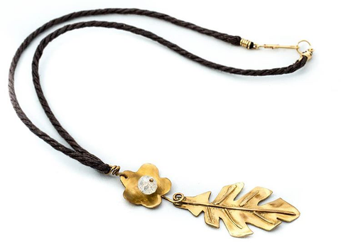 Galu Accesorios Corded Flower and Leaf Pendant Long Necklace