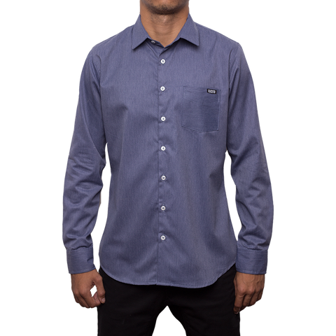 Movimiento Ilicito Blue Long Sleeve Dress Shirt
