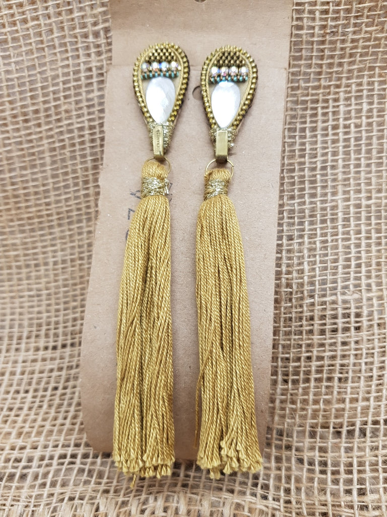 Buenamoza Tassel Mustard Earrings