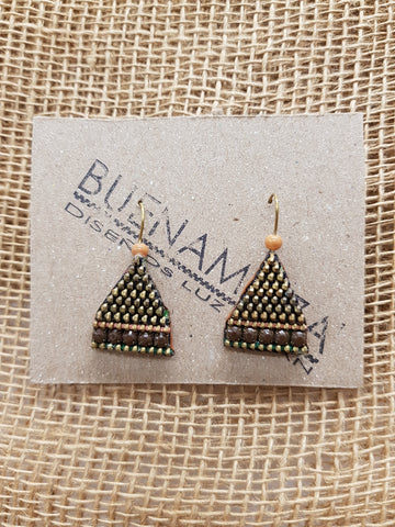 Buenamoza Pyramid Brown Earrings