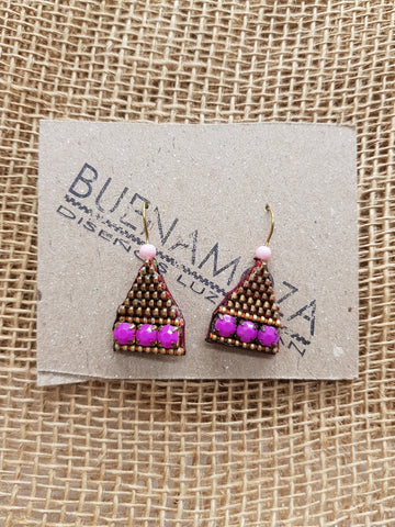 Buenamoza Pyramid Purple/Pink Earrings