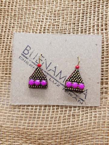 Buenamoza Pyramid Purple/Red Earrings