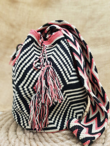 Juli Wayuu Design Black & Coral Mochila Bag