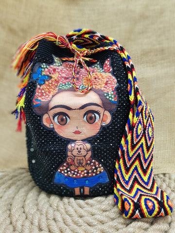 Juli Wayuu Embellished Frida Kahlo Design Mochila Bag