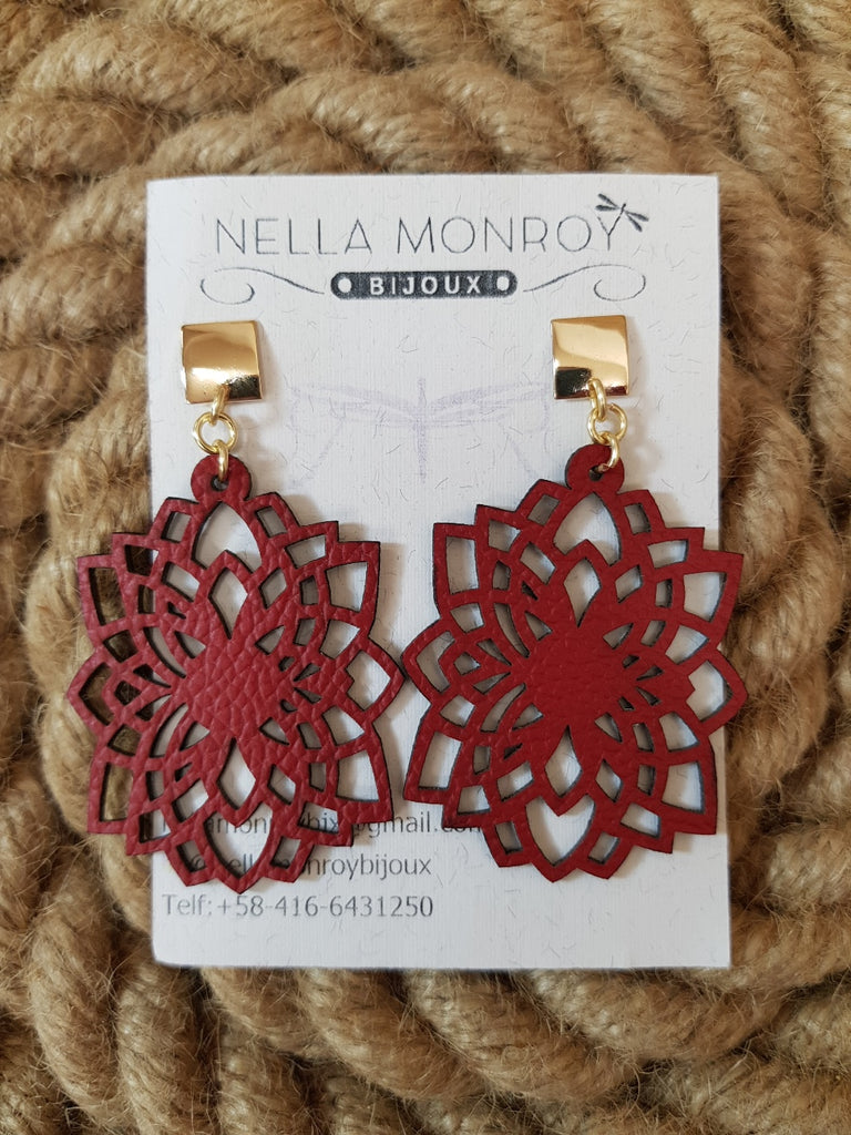 Nella Monroy Leather Red Earrings