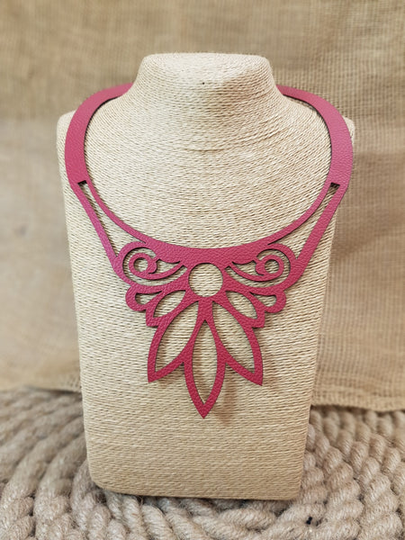 Nella Monroy Faux Leather Laser Cut Red Necklace