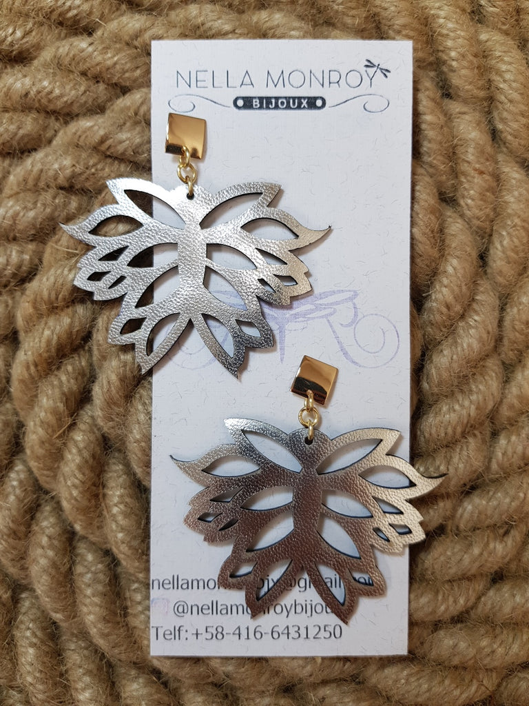Nella Monroy Leather Silver Earrings